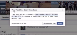 How to schedule a FB Fan Post
